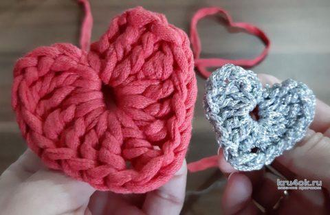 Сердечко-валентинка крючком из трикотажной пряжи за 5 минут видео МК