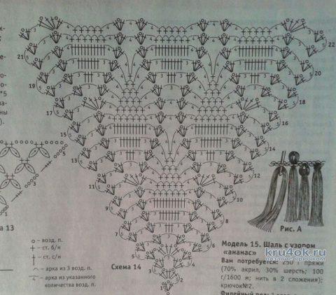 Шаль крючком с узором АНАНАС. Работа Галины Коржуновой вязание и схемы вязания