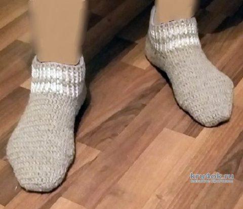 Шерстяные мужские носки крючком, видео-урок вязание и схемы вязания