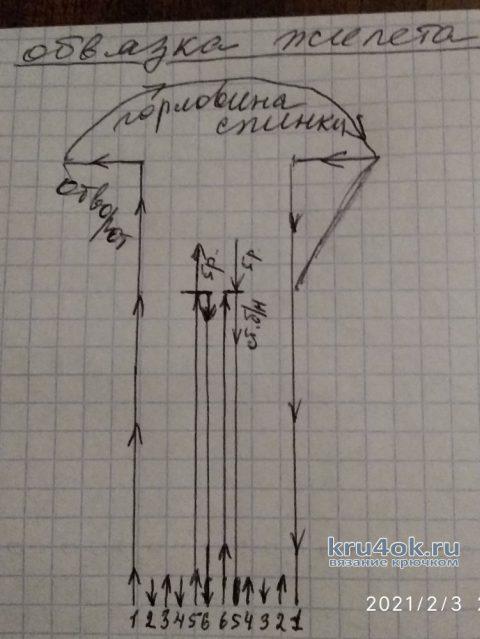 Удлиненный жилет, связанный крючком. Работа Маргариты Шопхоловой вязание и схемы вязания