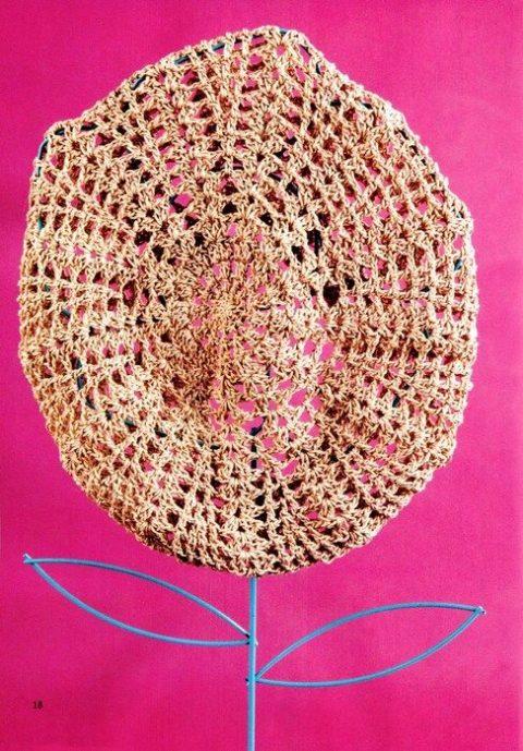 Схема вязания бежевого берета крючком