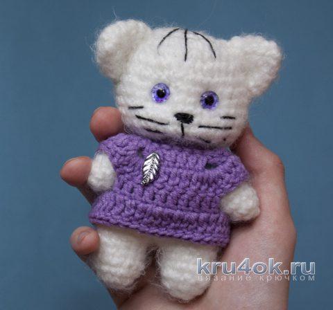 Пушистый кот крючком - игрушка амигуруми (схема и видео-урок).