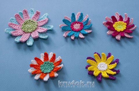 схема вязания объемного цветка