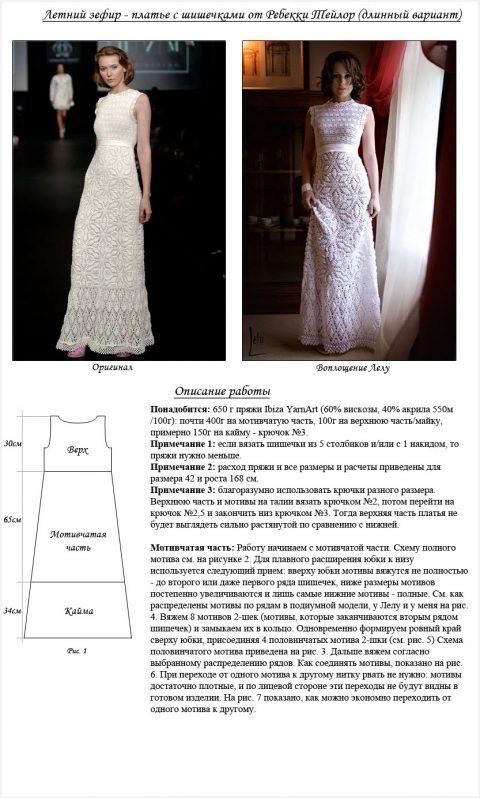 Описание и схемы летнего платья