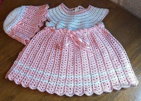 Комплект детский Зефирка, платье и шапочка связанные крючком вязание и схемы вязания