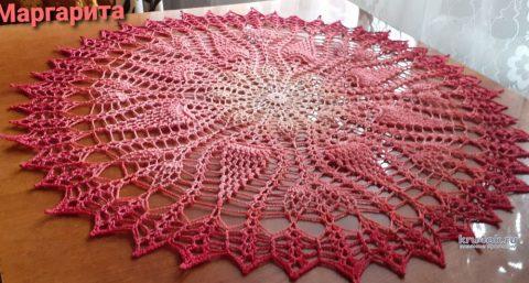 Круглая салфетка крючком Солнце инков. Работа Маргариты вязание и схемы вязания