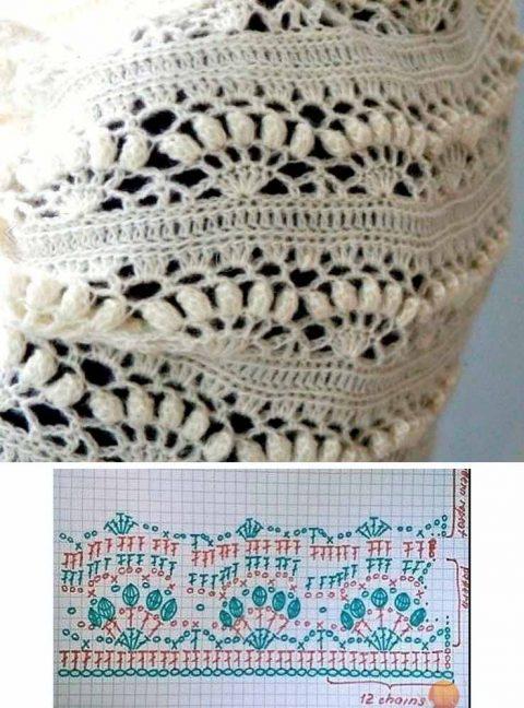 Схемы узоров с пышными столбиками, связанные крючком