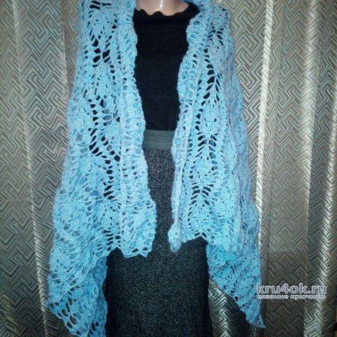 Ажурный палантин крючком из мохера. Работа Екатерины вязание и схемы вязания