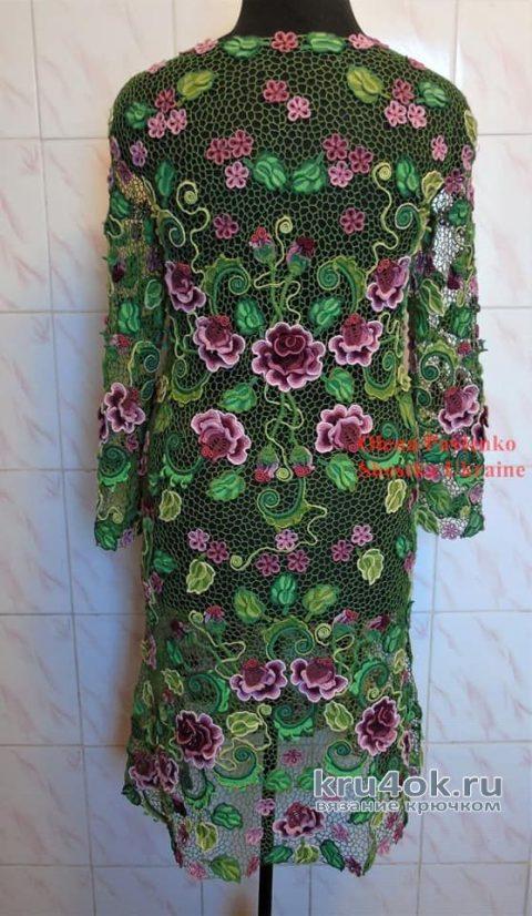 Платье Розы Анны связано в технике ирландского кружева. Работа Елены Павленко вязание и схемы вязания