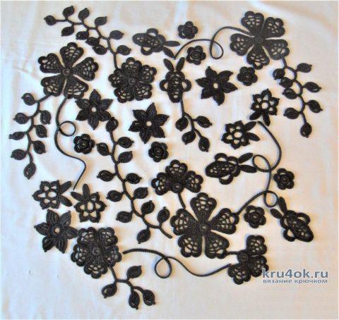 Платье Шоколадные узоры связано в технике ирландского кружева. Работа Еленs Павленко вязание и схемы вязания