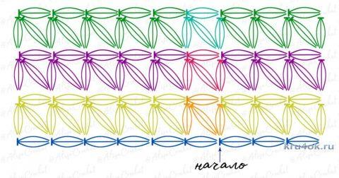 Схема вязания узора ЗВЕЗДОЧКИ по прямой: