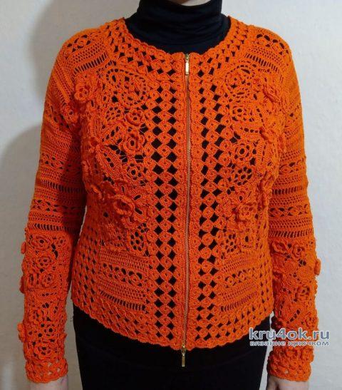 Вязанная крючком куртка с элементами ирландского кружева. Работа Alla Devileneva вязание и схемы вязания