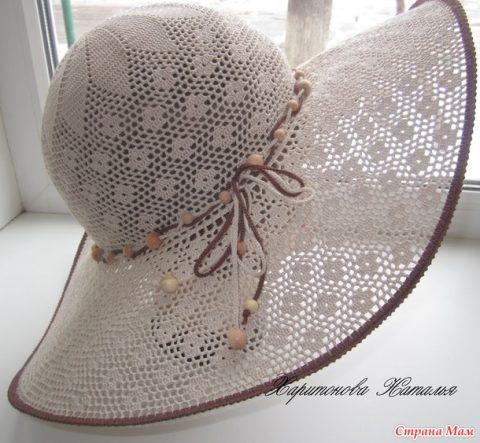 Шляпа крючком с большими полями Элегант
