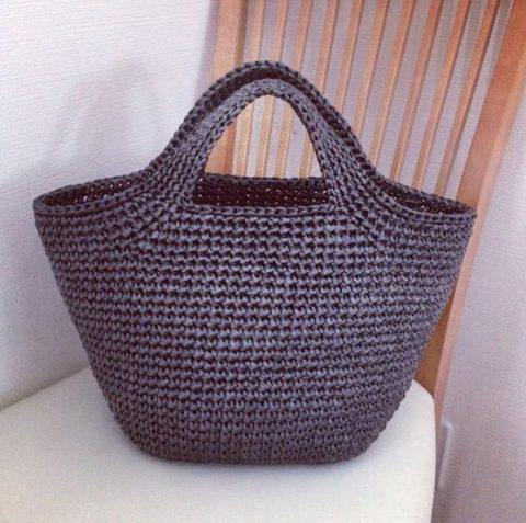 Схема вязания сумки - корзины крючком из рафии