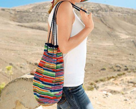 Полосатая летняя сумка - торба крючком