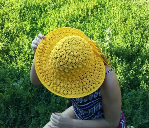 Солнечная шляпа крючком