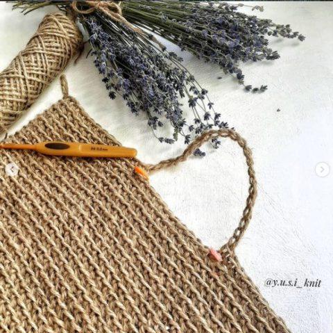 Сумка - шоппер крючком из джута