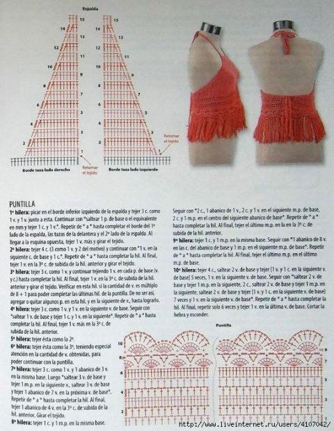 Схема вязания красного кроп-топа крючком