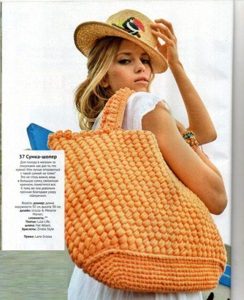 Летняя сумка - шоппер из трикотажной пряжи
