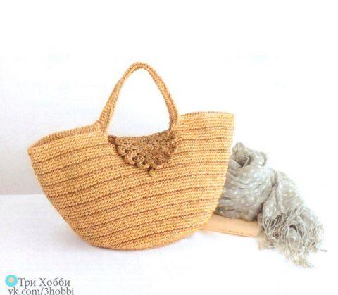 Пляжная летняя сумка из рафии