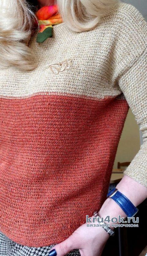 Двухцветный джемпер крючком. Работа Елены Шевчук вязание и схемы вязания