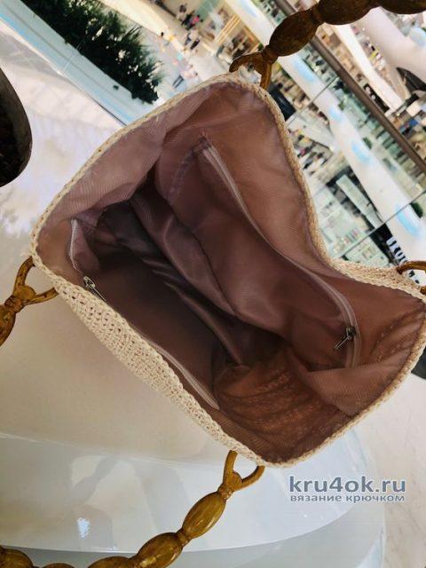 Летняя сумка крючком из рафии. Работа Аллы вязание и схемы вязания