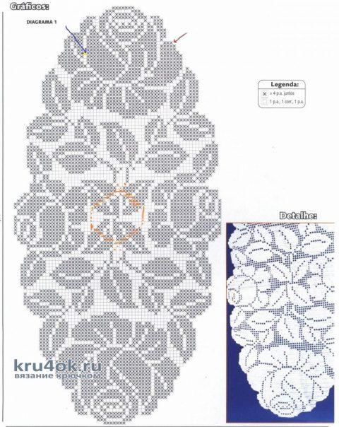 Салфетка в технике филейного кружева. Работа Кузьминовой Татьяны вязание и схемы вязания