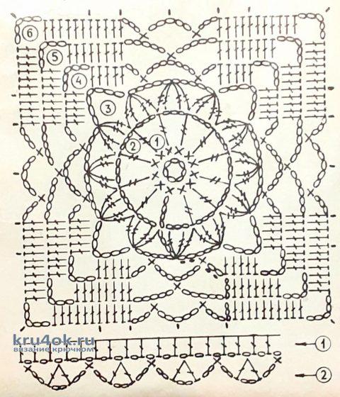 Яркая шаль крючком. Работа Маргариты вязание и схемы вязания