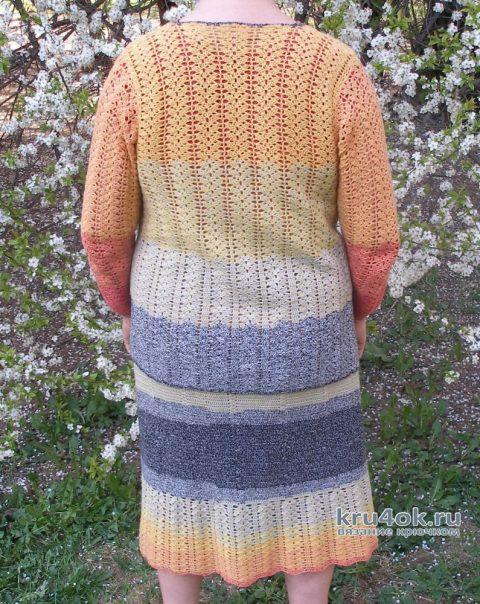 Женский костюм крючком. Работа Елены вязание и схемы вязания