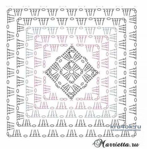 Женский топ крючком на основе бабушкиного квадрата. Работа Ольги Остапенко вязание и схемы вязания