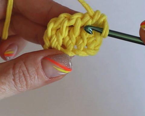 2 способ вязания крючком ручек для сумки или рюкзака