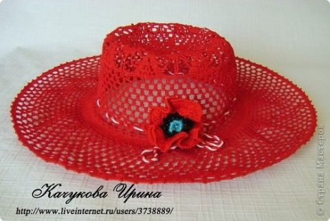 Ажурная шляпа крючком 12