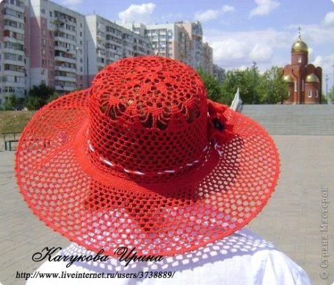 Ажурная шляпа крючком 13