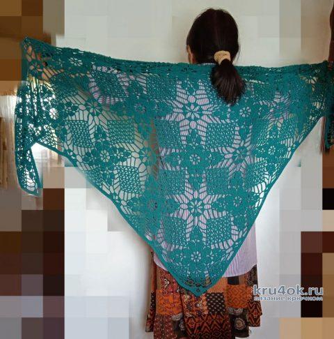 Ажурная шаль из мотивов крючком. Работа Маргариты Шопхоловой вязание и схемы вязания