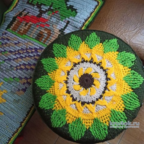 Дорожка крючком и декоративные подушки. Работы Галины Бофановой вязание и схемы вязания