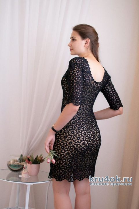 Платье крючком из мотивов. Работа Аллы Хабаровой вязание и схемы вязания
