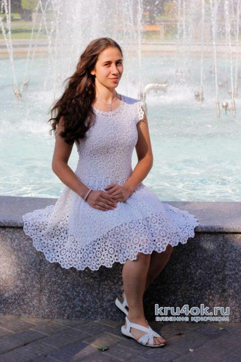 Женское платье крючком. Работа Аллы Хабаровой