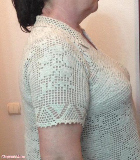 Женское платье из льна крючком 23