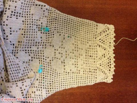 Женское платье из льна крючком 24