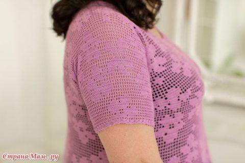 Лавандовое платье крючком для женщин в филейно 2