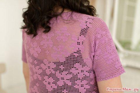 Лавандовое платье крючком для женщин в филейно 3
