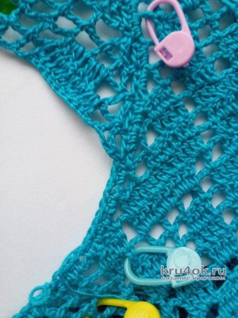 Платье Незабудка крючком. Работа Ирины Светличной вязание и схемы вязания