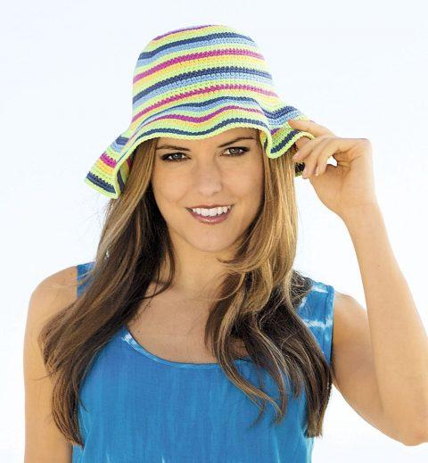 Теплая шляпа крючком с широкими полями