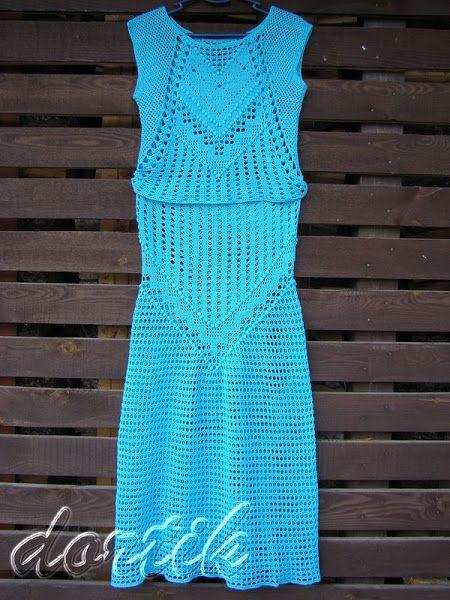 Бирюзовый костюм крючком: топ и юбка 1