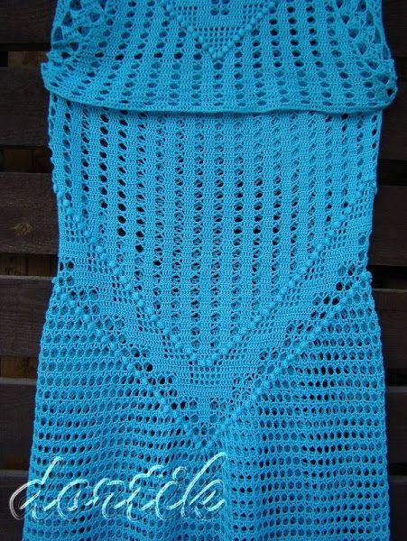 Бирюзовый костюм крючком: топ и юбка 2