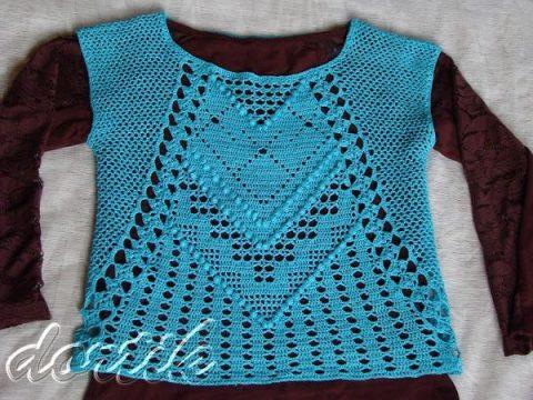 Бирюзовый костюм крючком: топ и юбка 6