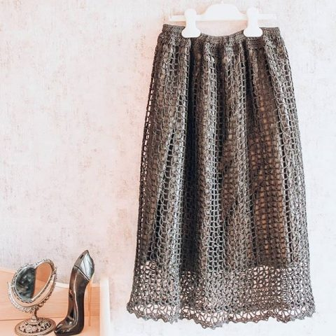 Стильная юбка - сетка крючком для женщин