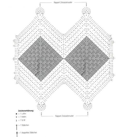 Шарф крючком на основе бабушкиного квадрата
