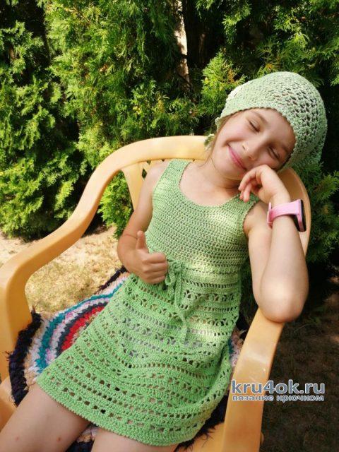 Летний сарафан и косынка для девочки, связанные крючком. Работы Светланы вязание и схемы вязания