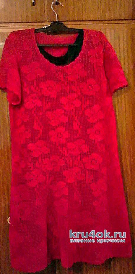Платье Малина (филейная сетка крючком). Работа Ирины Светличной